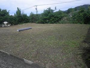 日置市 草刈り後に防草シート施工準備