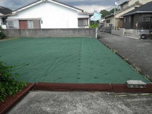 草刈り作業後 防草シート施工事